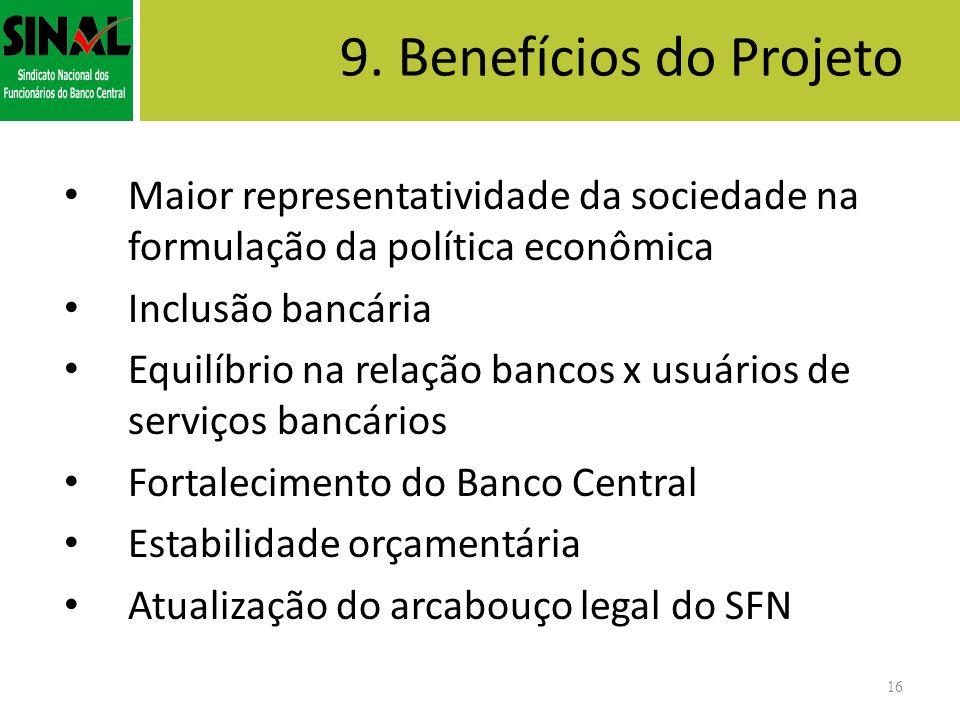 9. Benefícios do ProjetoMaior representatividade da sociedade na formulação da política econômica. Inclusão bancária.