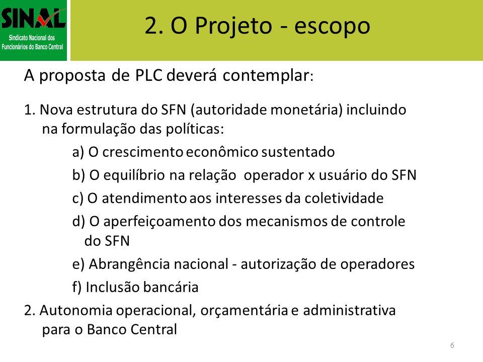 2. O Projeto - escopo A proposta de PLC deverá contemplar:
