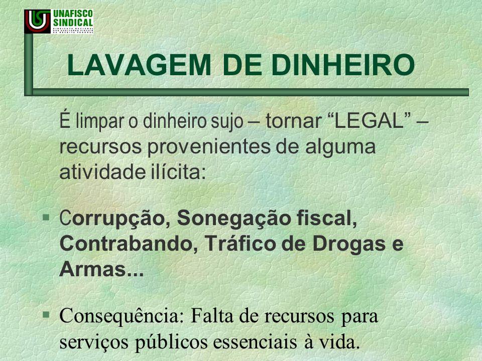 LAVAGEM DE DINHEIRO É limpar o dinheiro sujo – tornar LEGAL – recursos provenientes de alguma atividade ilícita: