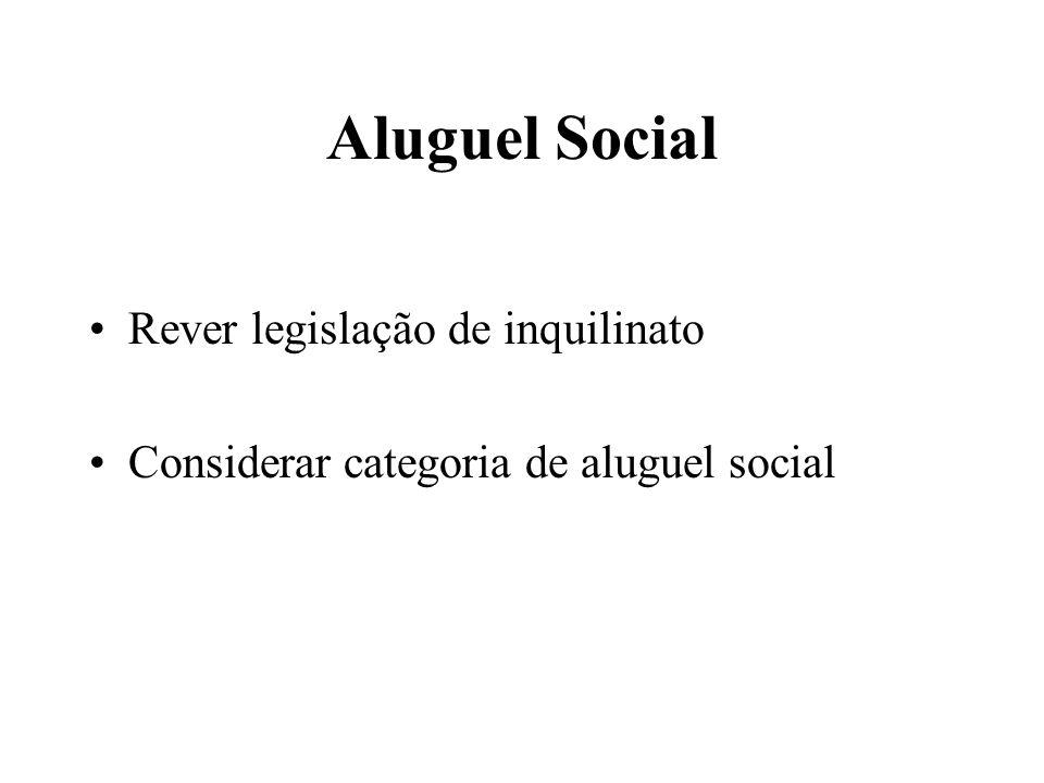 Aluguel Social Rever legislação de inquilinato