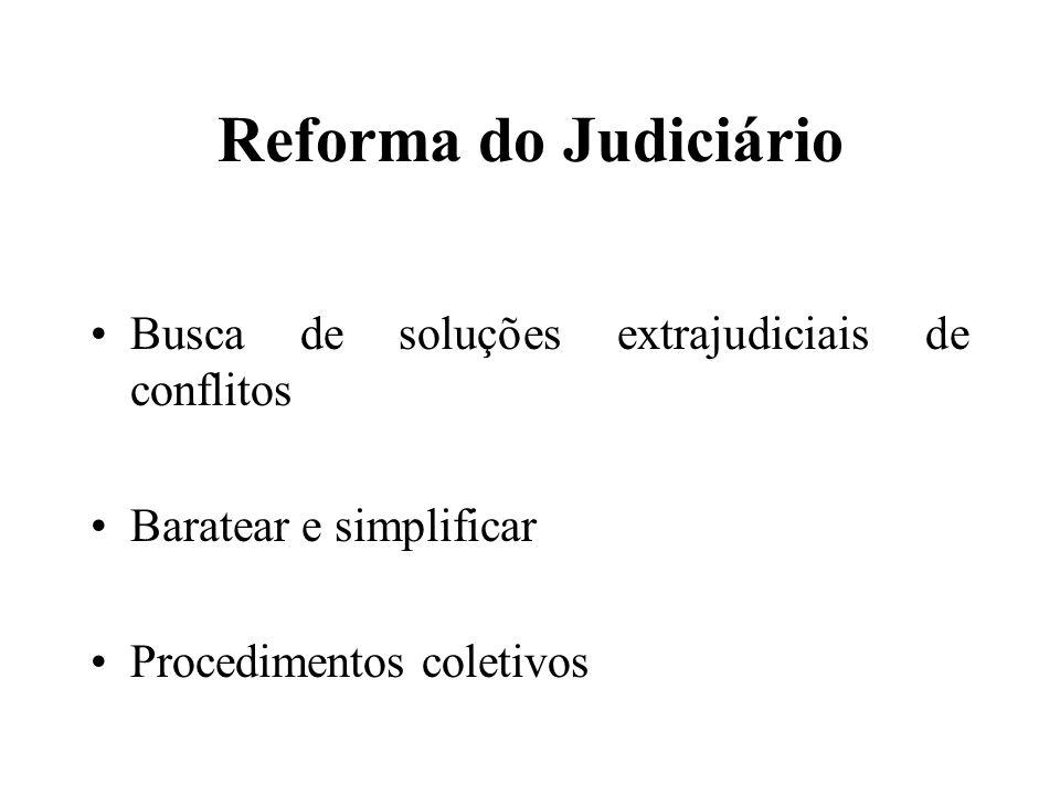 Reforma do Judiciário Busca de soluções extrajudiciais de conflitos