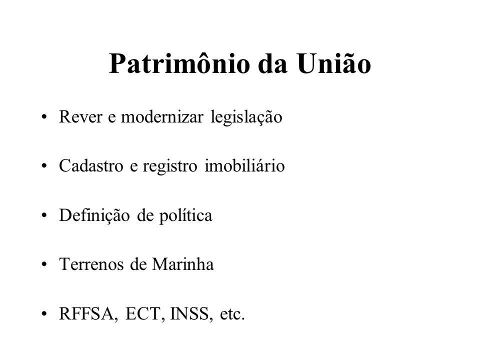 Patrimônio da União Rever e modernizar legislação