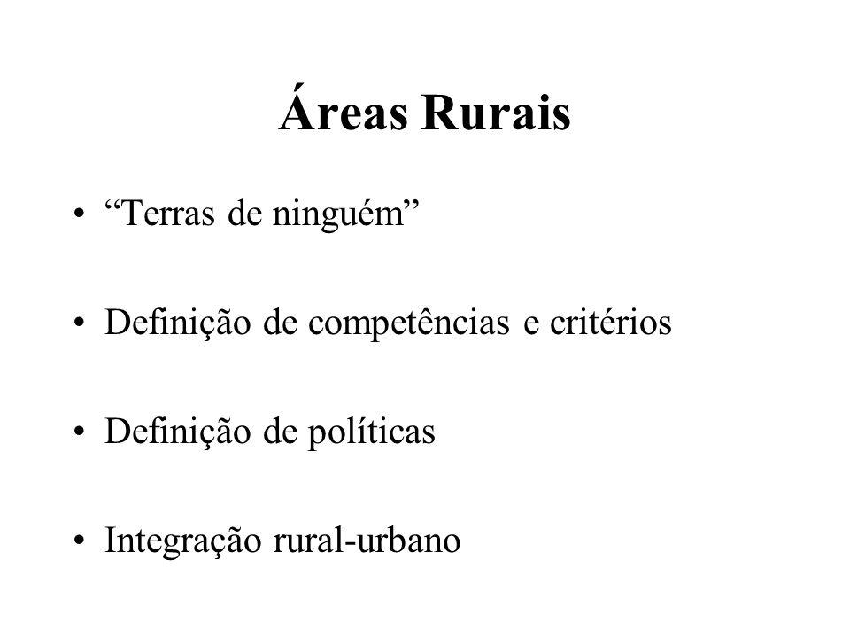 Áreas Rurais Terras de ninguém Definição de competências e critérios