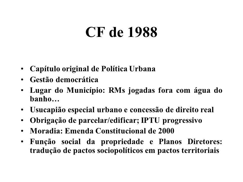 CF de 1988 Capítulo original de Política Urbana Gestão democrática