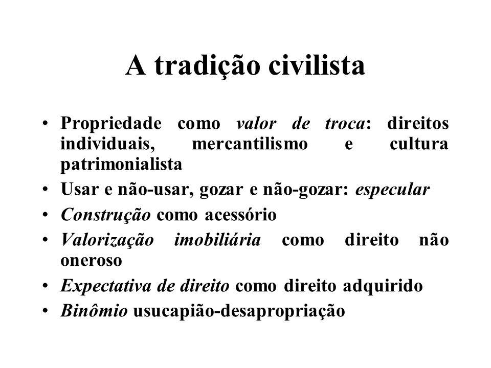 A tradição civilista Propriedade como valor de troca: direitos individuais, mercantilismo e cultura patrimonialista.