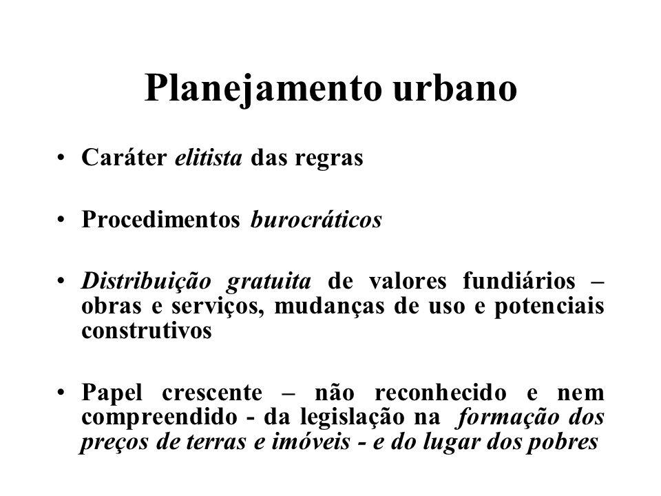 Planejamento urbano Caráter elitista das regras