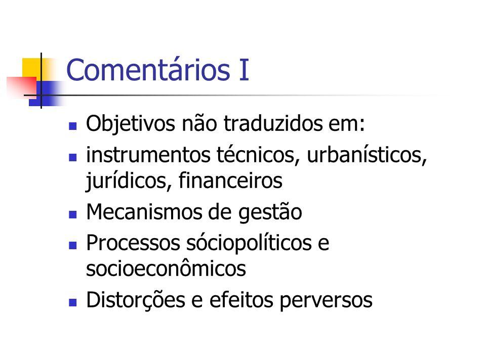 Comentários I Objetivos não traduzidos em: