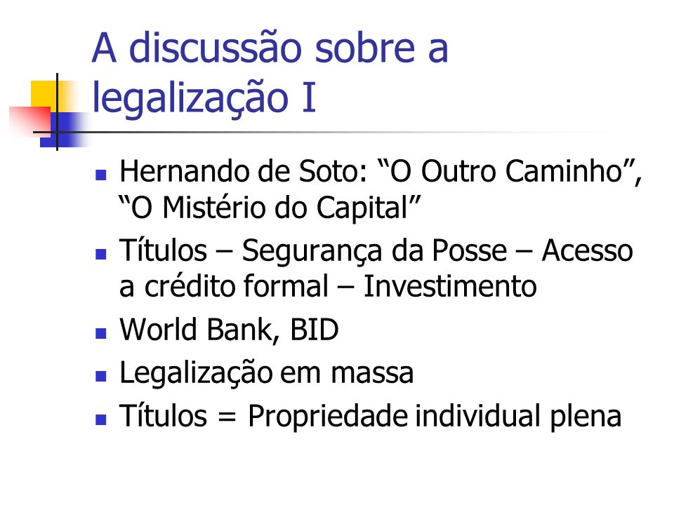 A discussão sobre a legalização I
