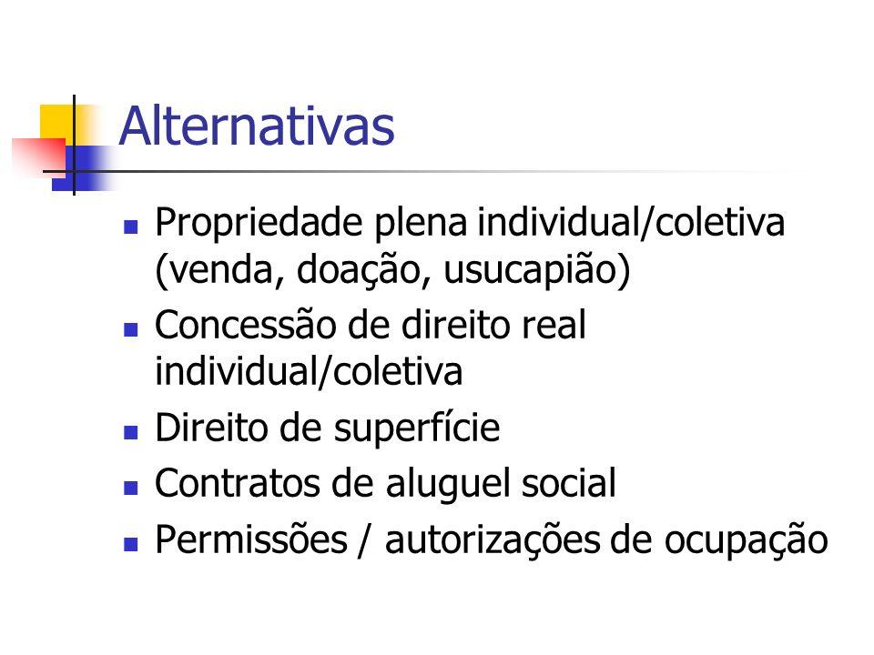 Alternativas Propriedade plena individual/coletiva (venda, doação, usucapião) Concessão de direito real individual/coletiva.