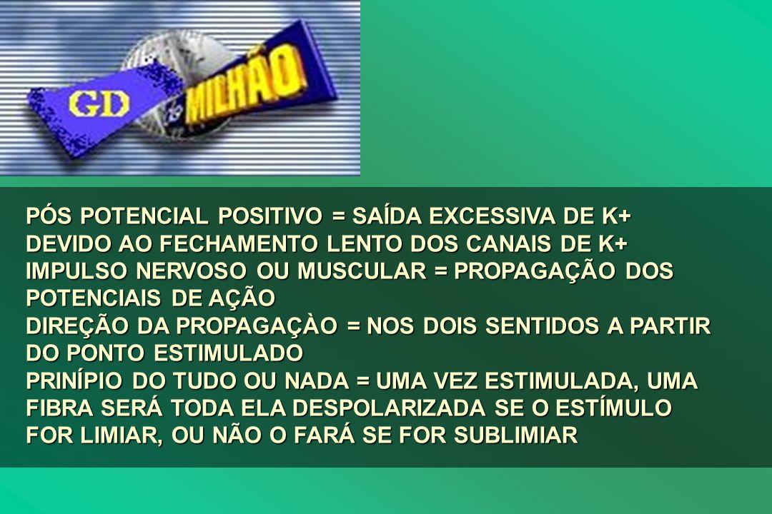 PÓS POTENCIAL POSITIVO = SAÍDA EXCESSIVA DE K+ DEVIDO AO FECHAMENTO LENTO DOS CANAIS DE K+