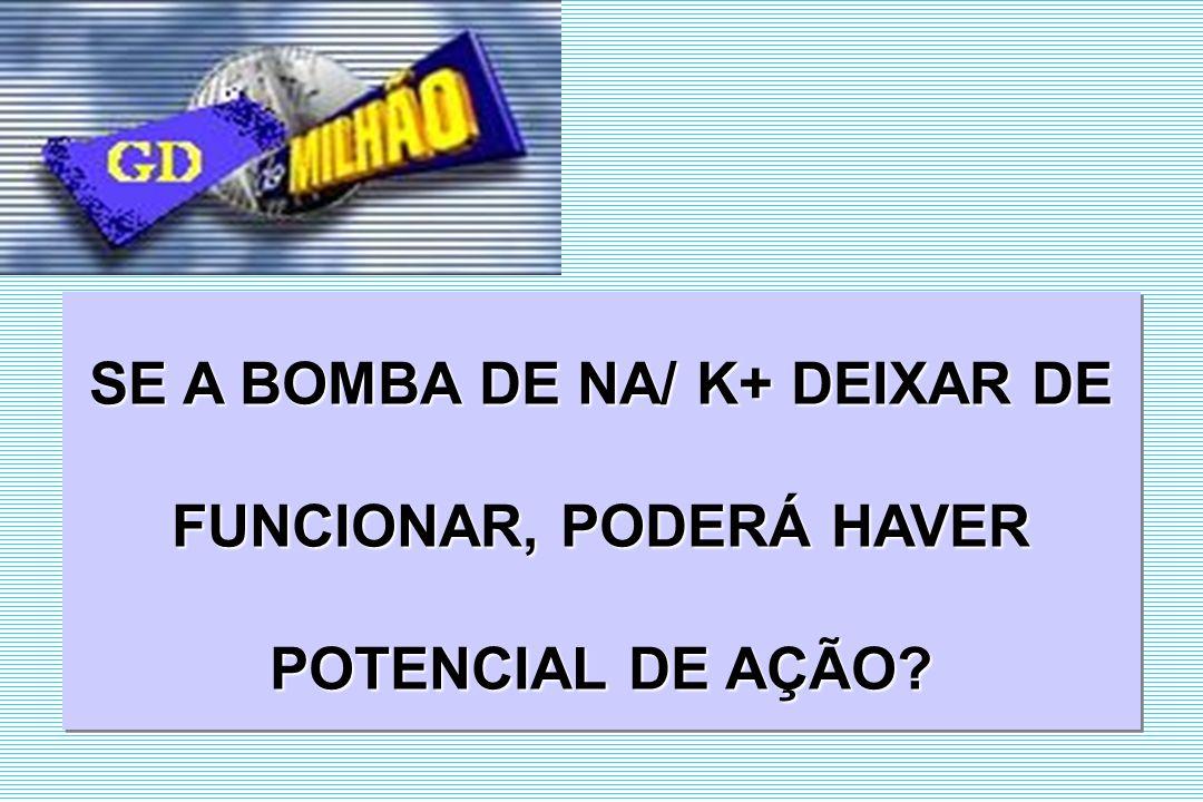 SE A BOMBA DE NA/ K+ DEIXAR DE FUNCIONAR, PODERÁ HAVER POTENCIAL DE AÇÃO