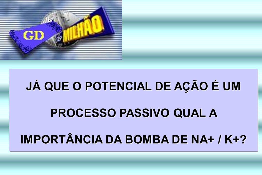 JÁ QUE O POTENCIAL DE AÇÃO É UM PROCESSO PASSIVO QUAL A IMPORTÂNCIA DA BOMBA DE NA+ / K+