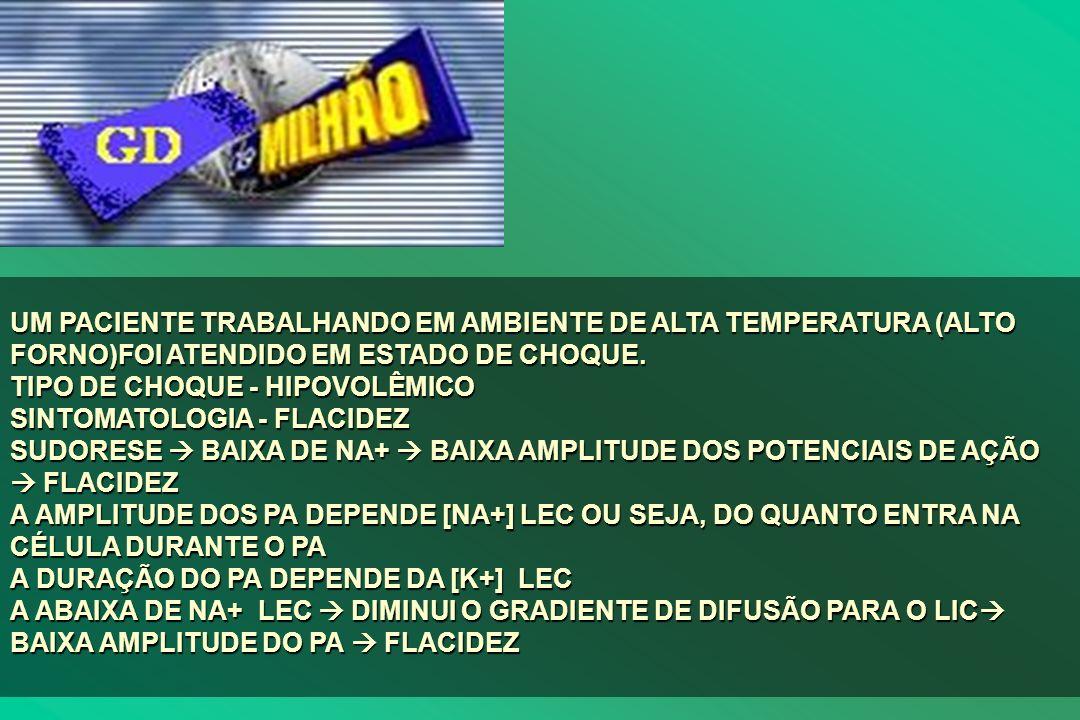 UM PACIENTE TRABALHANDO EM AMBIENTE DE ALTA TEMPERATURA (ALTO FORNO)FOI ATENDIDO EM ESTADO DE CHOQUE.