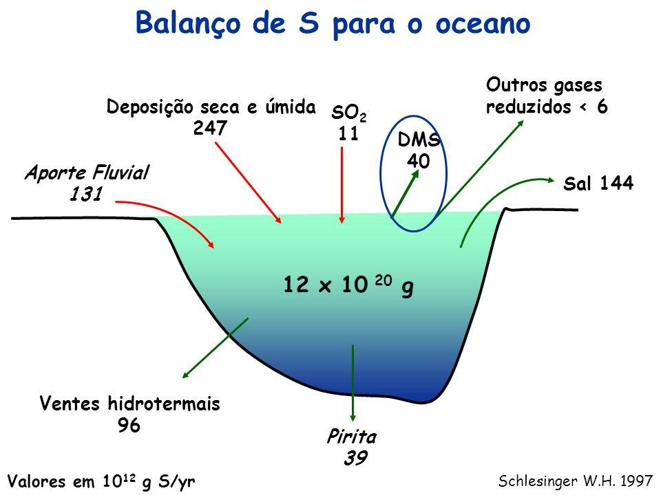 Balanço de S para o oceano