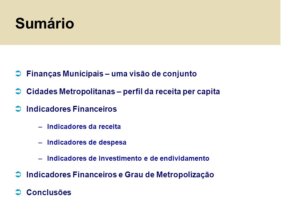 Sumário Finanças Municipais – uma visão de conjunto