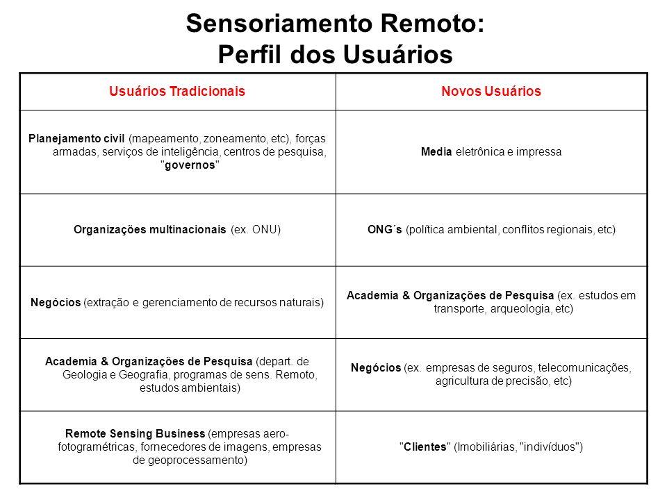Sensoriamento Remoto: Usuários Tradicionais