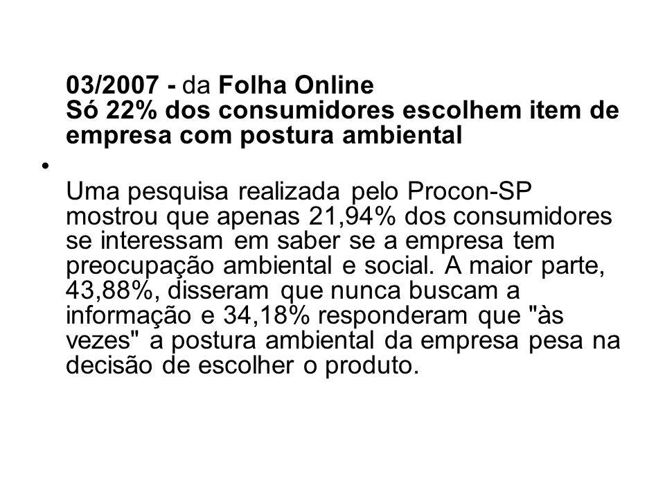 03/2007 - da Folha Online Só 22% dos consumidores escolhem item de empresa com postura ambiental