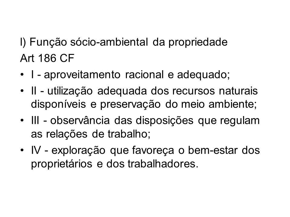 l) Função sócio-ambiental da propriedade