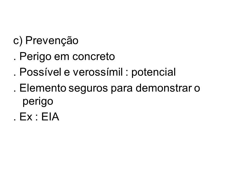 c) Prevenção . Perigo em concreto. . Possível e verossímil : potencial. . Elemento seguros para demonstrar o perigo.