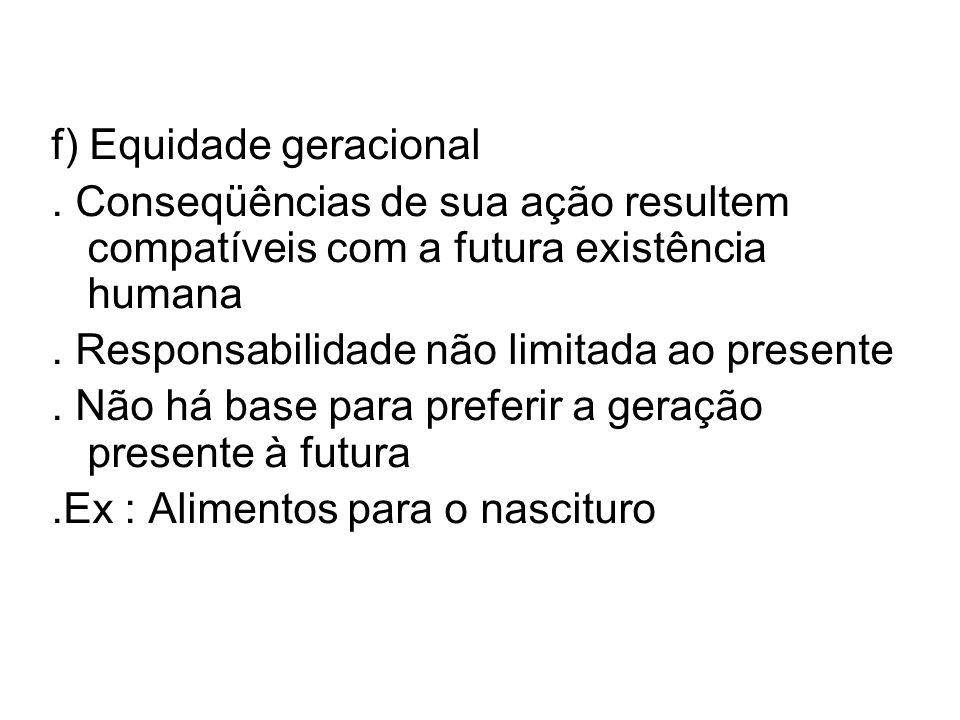 f) Equidade geracional