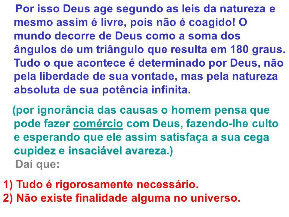 Por isso Deus age segundo as leis da natureza e mesmo assim é livre, pois não é coagido! O mundo decorre de Deus como a soma dos ângulos de um triângulo que resulta em 180 graus. Tudo o que acontece é determinado por Deus, não pela liberdade de sua vontade, mas pela natureza absoluta de sua potência infinita.