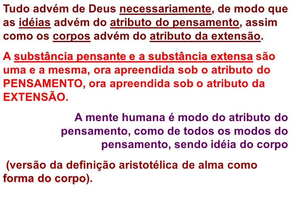 Tudo advém de Deus necessariamente, de modo que as idéias advém do atributo do pensamento, assim como os corpos advém do atributo da extensão.