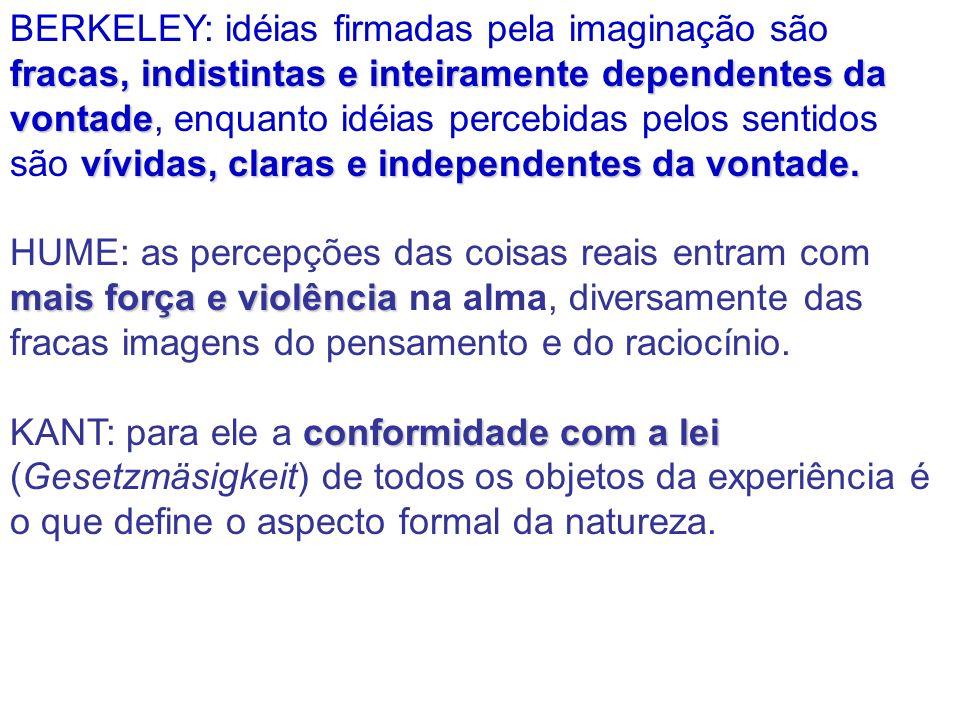 BERKELEY: idéias firmadas pela imaginação são fracas, indistintas e inteiramente dependentes da vontade, enquanto idéias percebidas pelos sentidos são vívidas, claras e independentes da vontade.