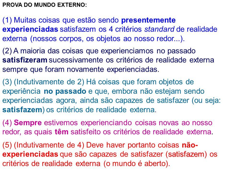 PROVA DO MUNDO EXTERNO: