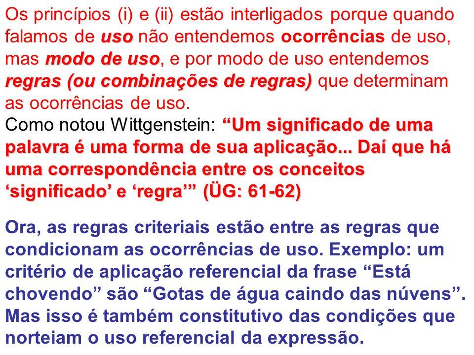 Os princípios (i) e (ii) estão interligados porque quando falamos de uso não entendemos ocorrências de uso, mas modo de uso, e por modo de uso entendemos regras (ou combinações de regras) que determinam as ocorrências de uso.