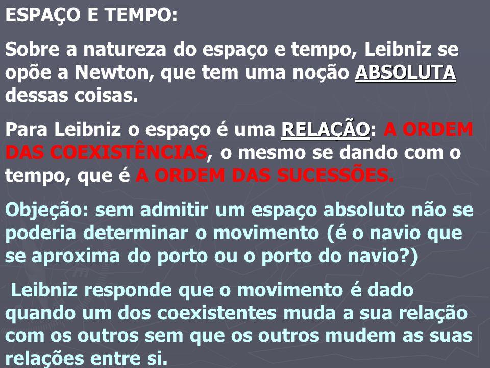 ESPAÇO E TEMPO: Sobre a natureza do espaço e tempo, Leibniz se opõe a Newton, que tem uma noção ABSOLUTA dessas coisas.