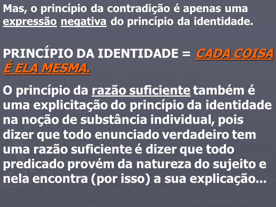 PRINCÍPIO DA IDENTIDADE = CADA COISA É ELA MESMA.