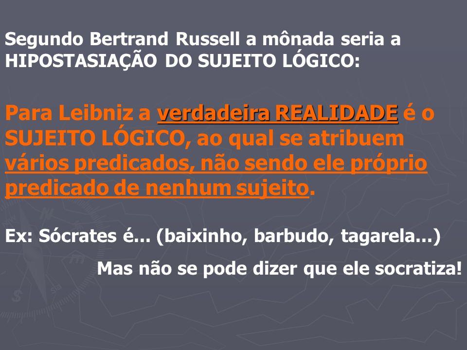 Segundo Bertrand Russell a mônada seria a HIPOSTASIAÇÃO DO SUJEITO LÓGICO: