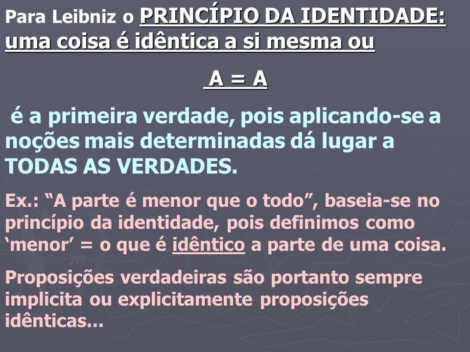 Para Leibniz o PRINCÍPIO DA IDENTIDADE: uma coisa é idêntica a si mesma ou