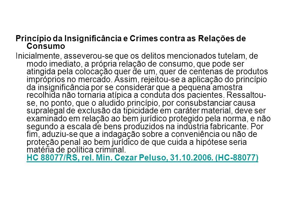 Princípio da Insignificância e Crimes contra as Relações de Consumo