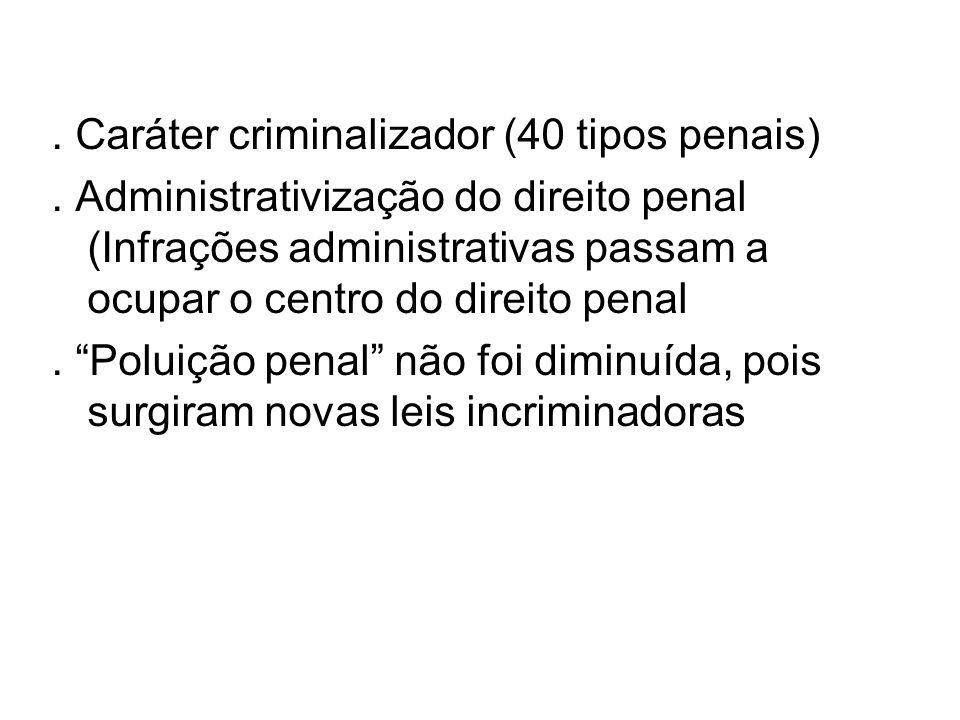 . Caráter criminalizador (40 tipos penais)