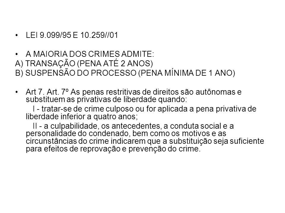 LEI 9.099/95 E 10.259//01 A MAIORIA DOS CRIMES ADMITE: A) TRANSAÇÃO (PENA ATÉ 2 ANOS) B) SUSPENSÃO DO PROCESSO (PENA MÍNIMA DE 1 ANO)