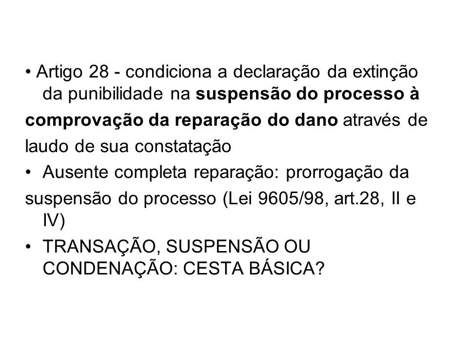 • Artigo 28 - condiciona a declaração da extinção da punibilidade na suspensão do processo à
