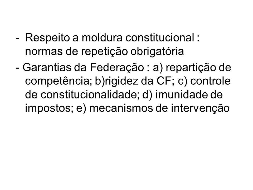 Respeito a moldura constitucional : normas de repetição obrigatória