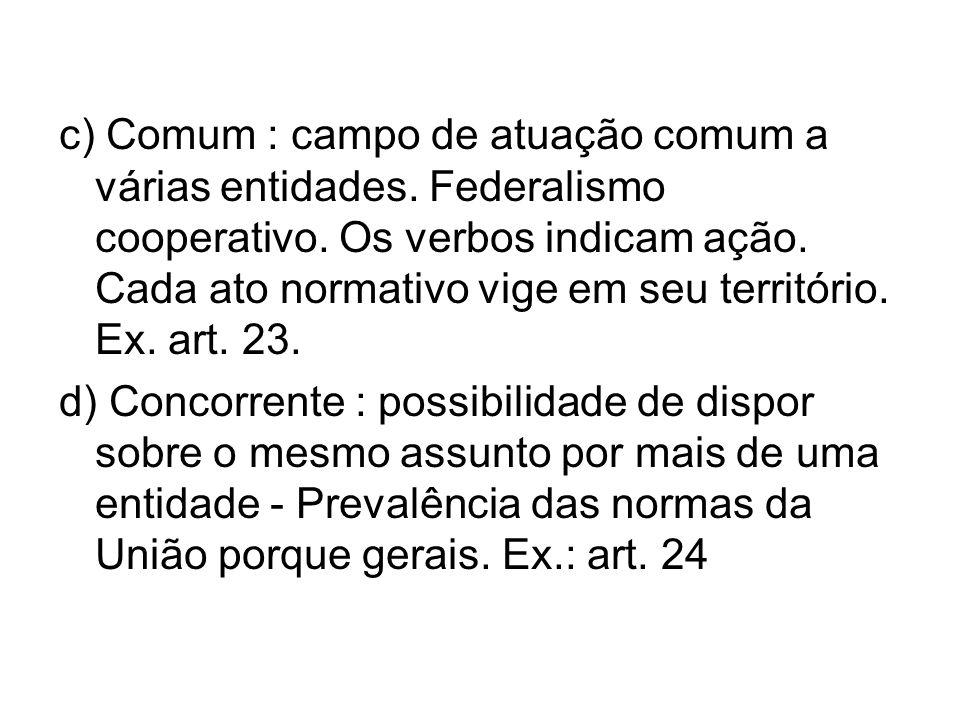 c) Comum : campo de atuação comum a várias entidades