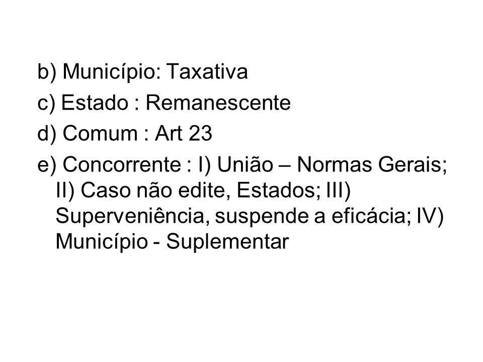 b) Município: Taxativa