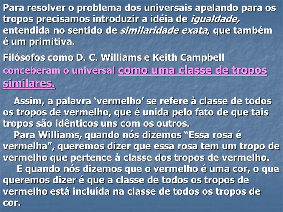 Para resolver o problema dos universais apelando para os tropos precisamos introduzir a idéia de igualdade, entendida no sentido de similaridade exata, que também é um primitiva.