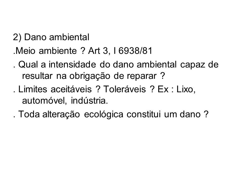 2) Dano ambiental .Meio ambiente Art 3, I 6938/81. . Qual a intensidade do dano ambiental capaz de resultar na obrigação de reparar