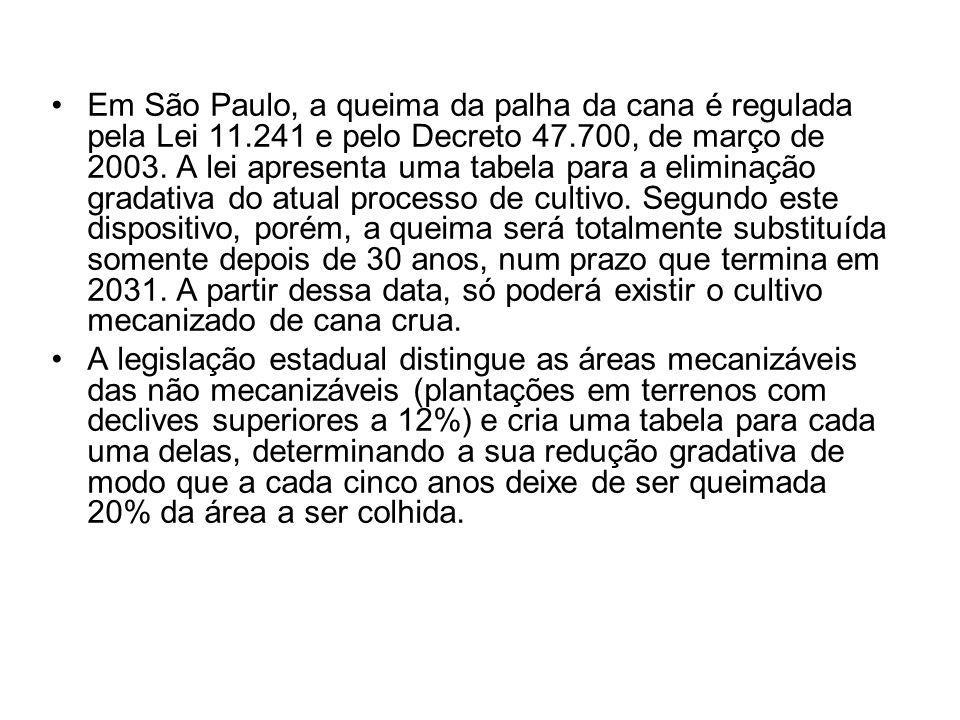 Em São Paulo, a queima da palha da cana é regulada pela Lei 11