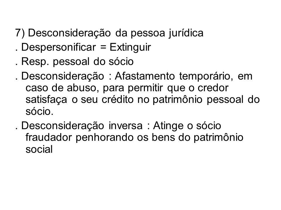 7) Desconsideração da pessoa jurídica