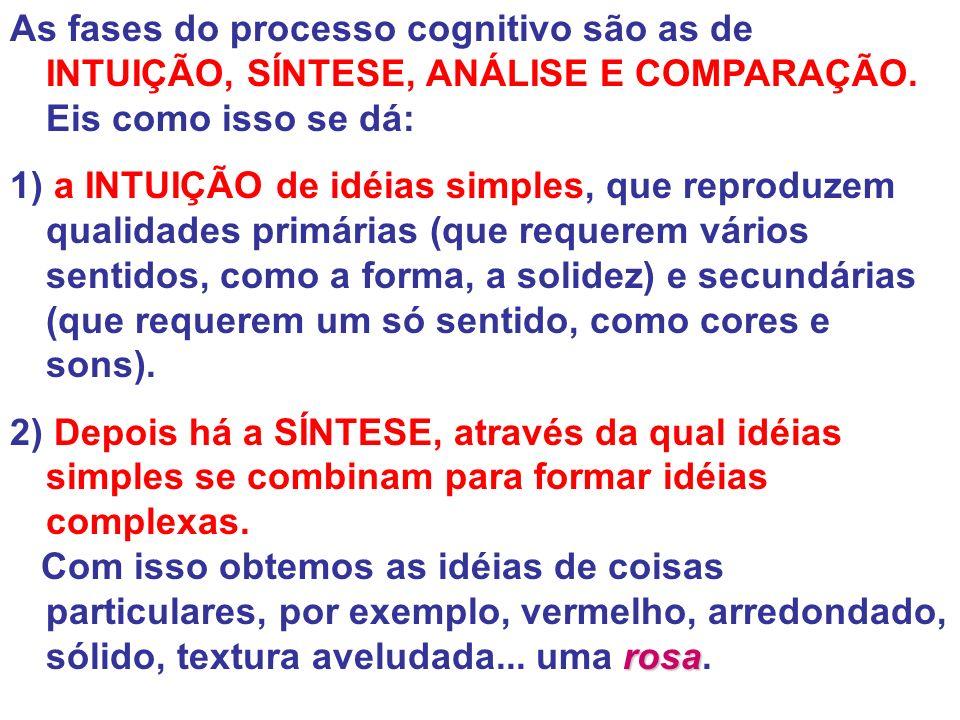 As fases do processo cognitivo são as de INTUIÇÃO, SÍNTESE, ANÁLISE E COMPARAÇÃO. Eis como isso se dá: