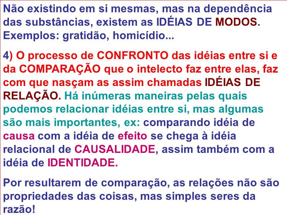 Não existindo em si mesmas, mas na dependência das substâncias, existem as IDÉIAS DE MODOS. Exemplos: gratidão, homicídio...