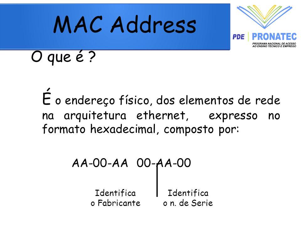 MAC Address O que é É o endereço físico, dos elementos de rede na arquitetura ethernet, expresso no formato hexadecimal, composto por: