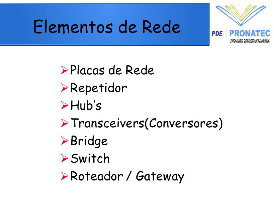 Elementos de Rede Placas de Rede Repetidor Hub's