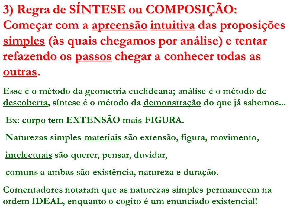 3) Regra de SÍNTESE ou COMPOSIÇÃO: Começar com a apreensão intuitiva das proposições simples (às quais chegamos por análise) e tentar refazendo os passos chegar a conhecer todas as outras.