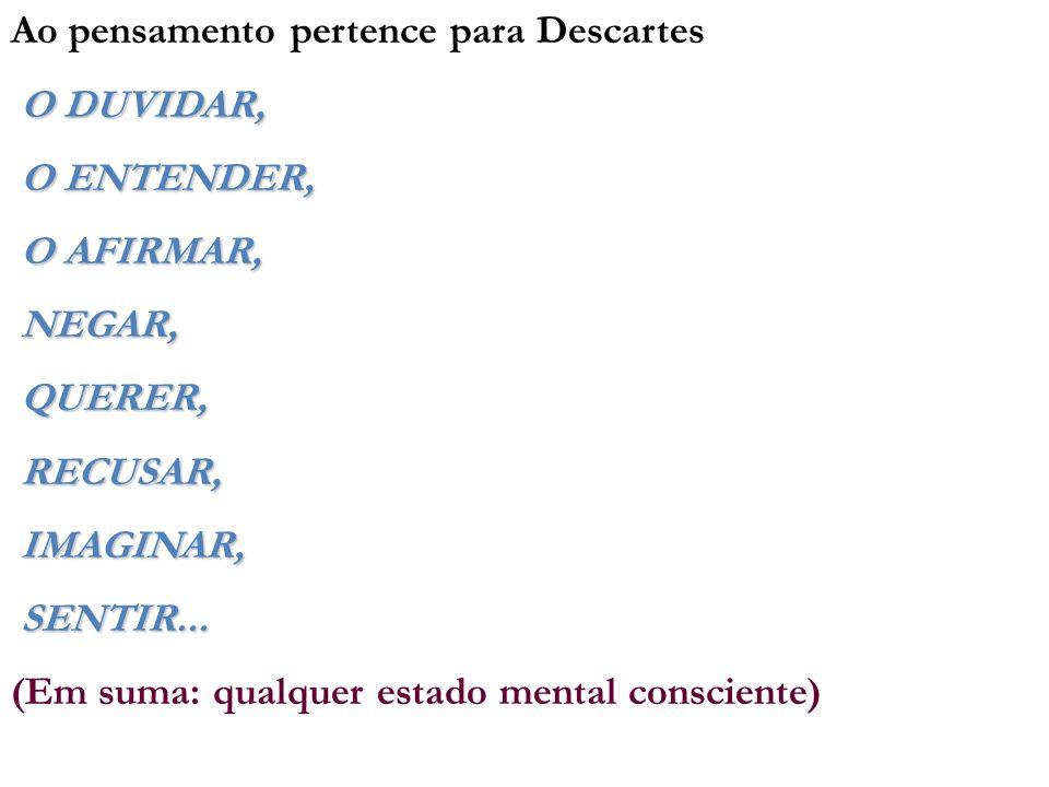 Ao pensamento pertence para Descartes